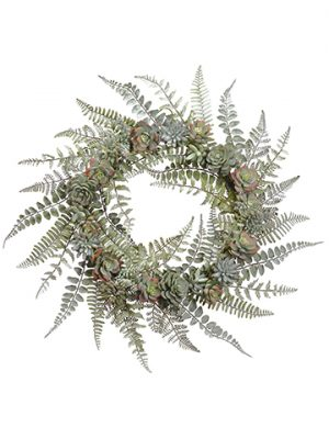 "24"" Succulent Wreath Green Frosted"