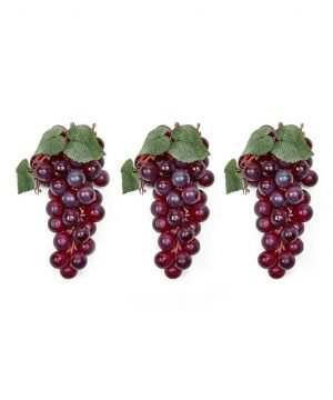A set of 3 soft touch faux grapes -- L (48 grapes per cluster)