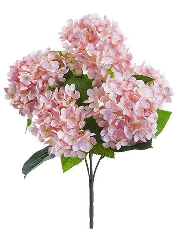 "17"" Hydrangea Bush x5 Soft Pink"