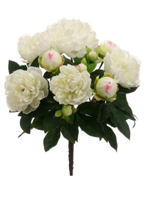 "15"" Peony Bush with 5 Flowers and 6 Buds White"