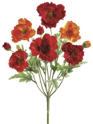 "18"" Small Poppy Bush x9 Red Orange"