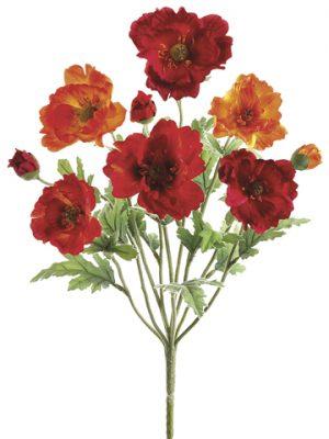 """18"""" Small Poppy Bush x9 Red Orange"""