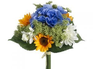 "11"" Sunflower/Daisy/ Hydrangea Bouquet Yellow Blue"