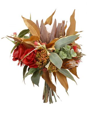 "17"" Rose/Sedum/Eucalyptus/Protea BouquetRed Camel"