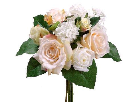 "11.5"" Rose/Hydrangea Bouquet Peach Cream"