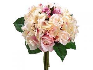 "11"" Rose/Hydrangea Bouquet Fuchsia Pink"