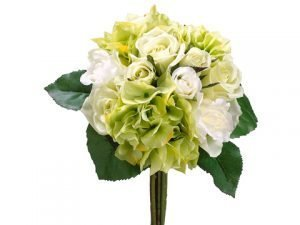 "11"" Rose/Hydrangea Bouquet Green Cream"