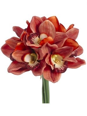 "12"" Real Touch Cymbidium Orchid Bouquet Orange"