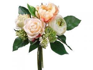 "11"" Peony/Rose/Lilac Bouquet Peach Green"