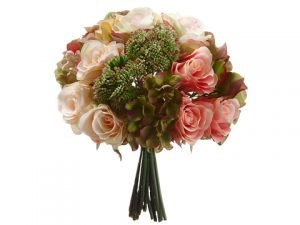 """11"""" Hydrangea/Rose/SedumBouquetPink Green"""