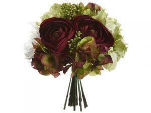 "10.5"" Hydrangea/Ranunculus/Peony/Skimmia BouquetEggplant Green"