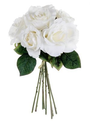 "11"" Rose Bouquet White"