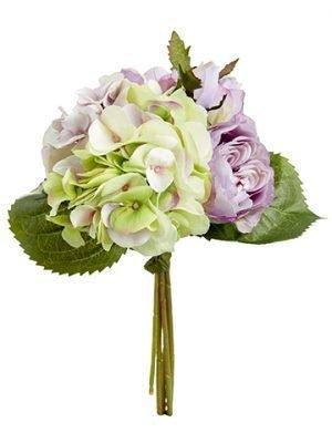 """11"""" Hydrangea/Rose Bouquet Amethyst Green"""