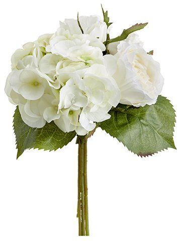 "11"" Hydrangea/Rose Bouquet Cream Green"