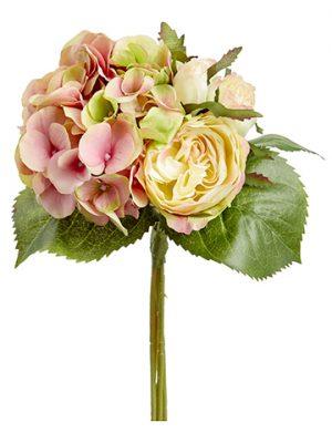 "11"" Hydrangea/Rose Bouquet Rose Green"