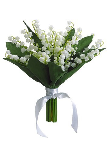 """10"""" Lily of The ValleyBouquetCream"""