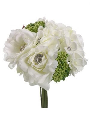 "10"" Rose/Hydrangea Bouquet  White"