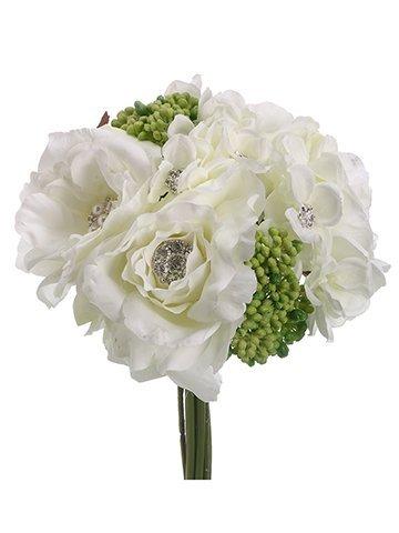 """10"""" Rose/Hydrangea BouquetWhite"""