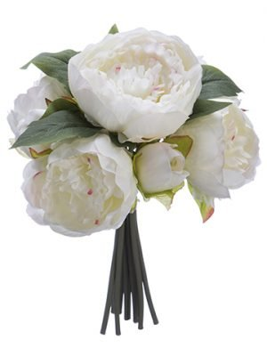 "12"" Peony Bouquet x9 White Pink"