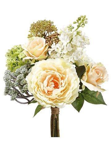 "12"" Rose/Peony/Dahlia/Succulent BouquetPeach Green"