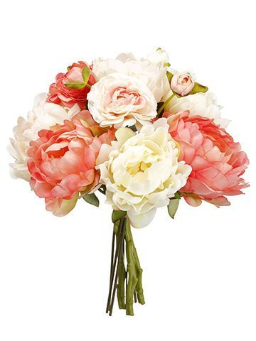 "13"" Peony/Ranunculus BouquetCoral Blush"