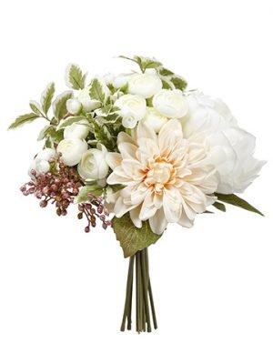 "12"" Hydrangea/Peony/DahliaBouquetMauve White"