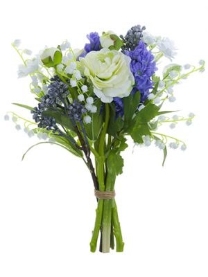 "12"" Ranunculus/Lily of The Valley Bouquet White Blue"