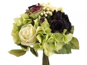 "11"" Rose/Ranunculus/Hydrangea Bouquet Green Plum"