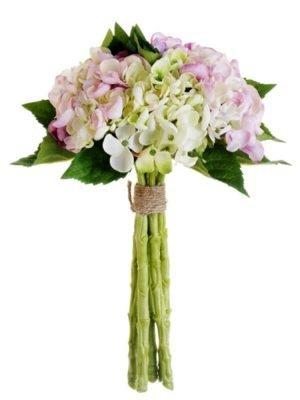 13in  Hydrangea Bouquet Green Lavender