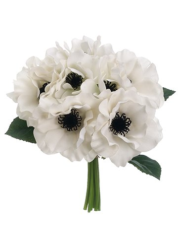 """10"""" Real Touch AnemoneBouquetWhite"""