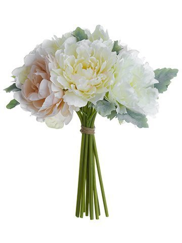 "16"" Peony/Dusty Miller Bouquet Cream Blush"