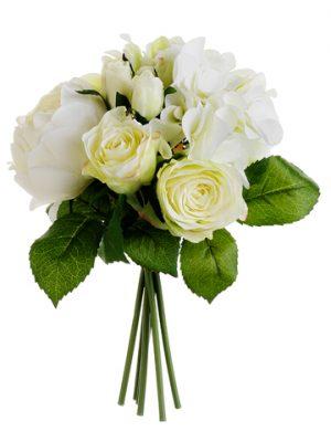 "11"" Hydrangea/Rose/PeonyBouquetCream Green"