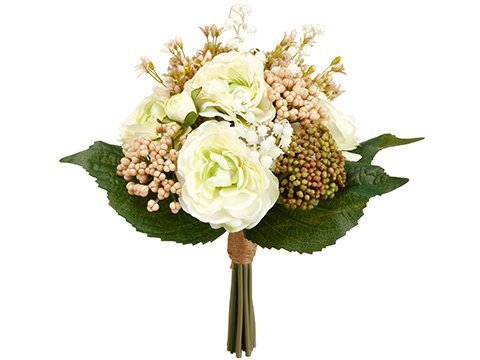 """11"""" Ranunculus/Lily of TheValley BouquetCream Green"""