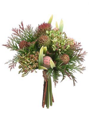 "7.5"" Protea/Thistle/SedumBouquetGreen Burgundy"