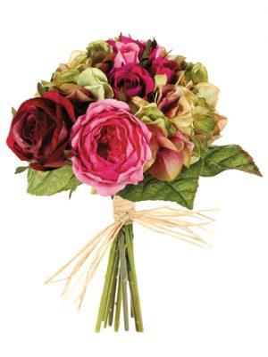 """10.5"""" Rose/Hydrangea MixedBouquetRose Green"""