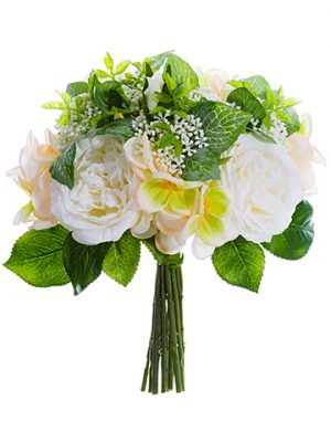 "10"" Rose/Hydrangea Bouquet  White Peach"