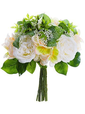"""10"""" Rose/Hydrangea BouquetWhite Peach"""