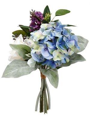 "11"" Hydrangea/Lilac/RoseBouquetBlue Purple"