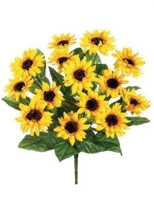 """16"""" Sunflower Bush x14 Yellow"""