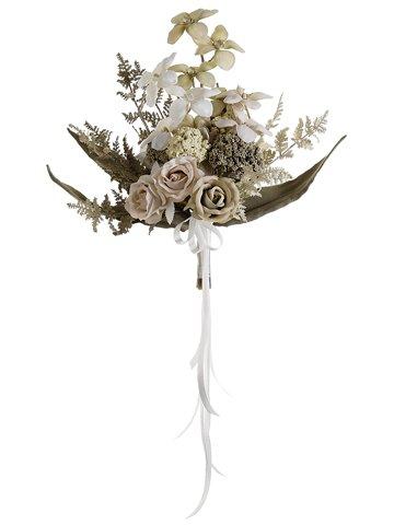 "15"" Vintage Orchid/Rose/Snowball /Fern CascadeCream Green"