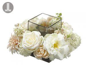 "6.25""Hx11""Wx11""L Peony/Rose/Snowball Centerpiece WithGlass Candleholder Cream Blush"