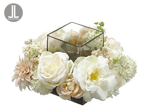 "6.25""Hx11""Wx11""L Peony/Rose /Snowball Centerpiece With Glass Candleholder Cream Blush"