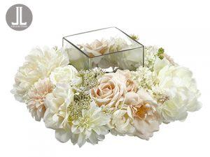 "8""Hx15""Wx15""L Peony/Rose/Snowball Centerpiece WithGlass Candleholder Cream Blush"