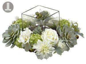 """8""""Hx14""""Wx14""""L Rose/Dahlia/Snowball Centerpiece WithGlass Candleholder White Green"""