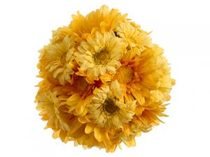 "7"" Gerbera Daisy Kissing Ball Two Tone Yellow"