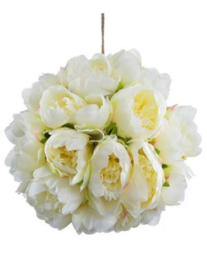 "10"" Peony Kissing Ball  Cream"
