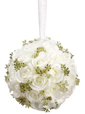 "5.5"" Rose Ball with Hanger  White"