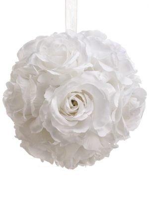 """6"""" Rose Kissing BallWhite"""
