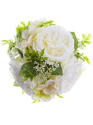 "5.5"" Rose/Hydrangea Kissing Ball White Peach"