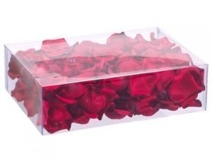 "3""H7.5""Wx10.5""L Rose Petals in Acetate Box (200 ea/box) Red"